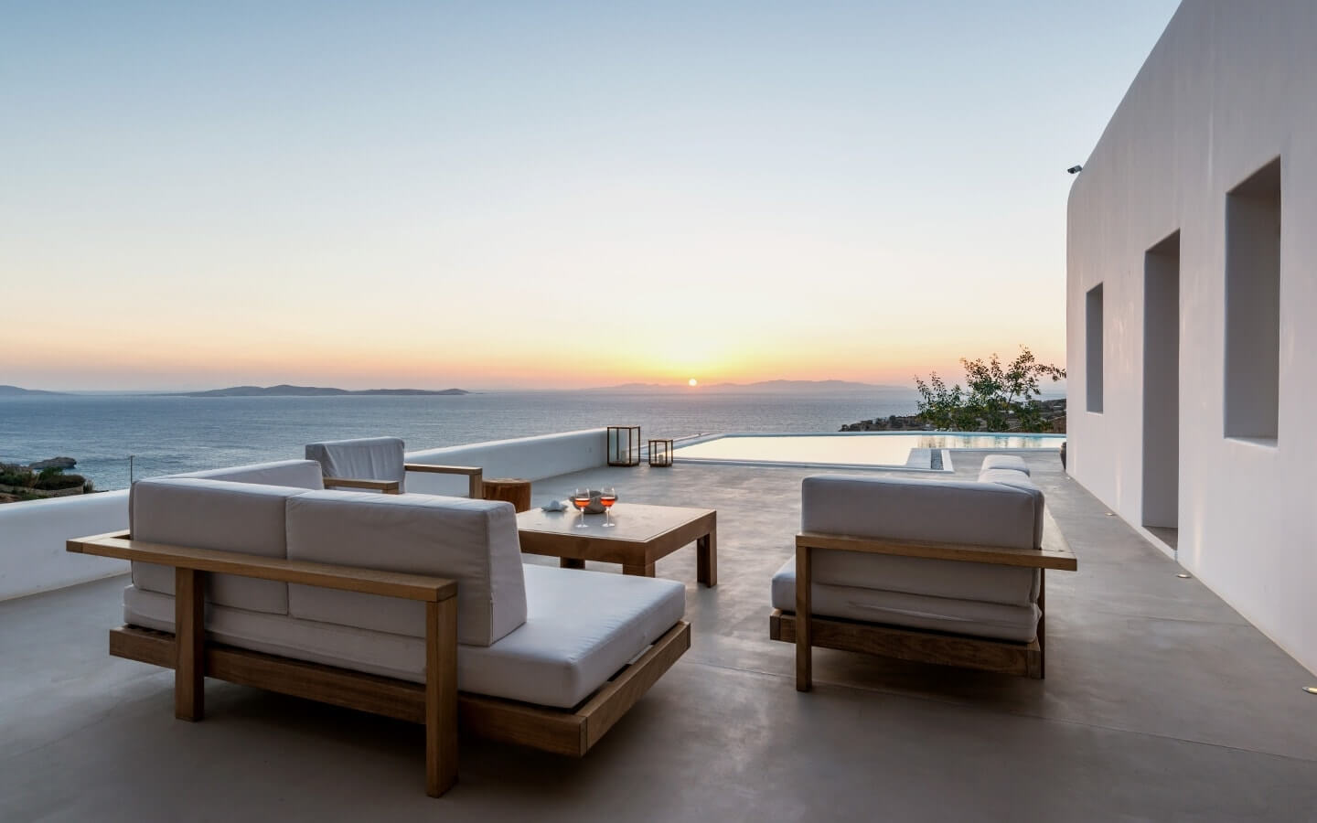 Outdoor sitting area overlooking the sea at Just White VIP Villas Mykonos.