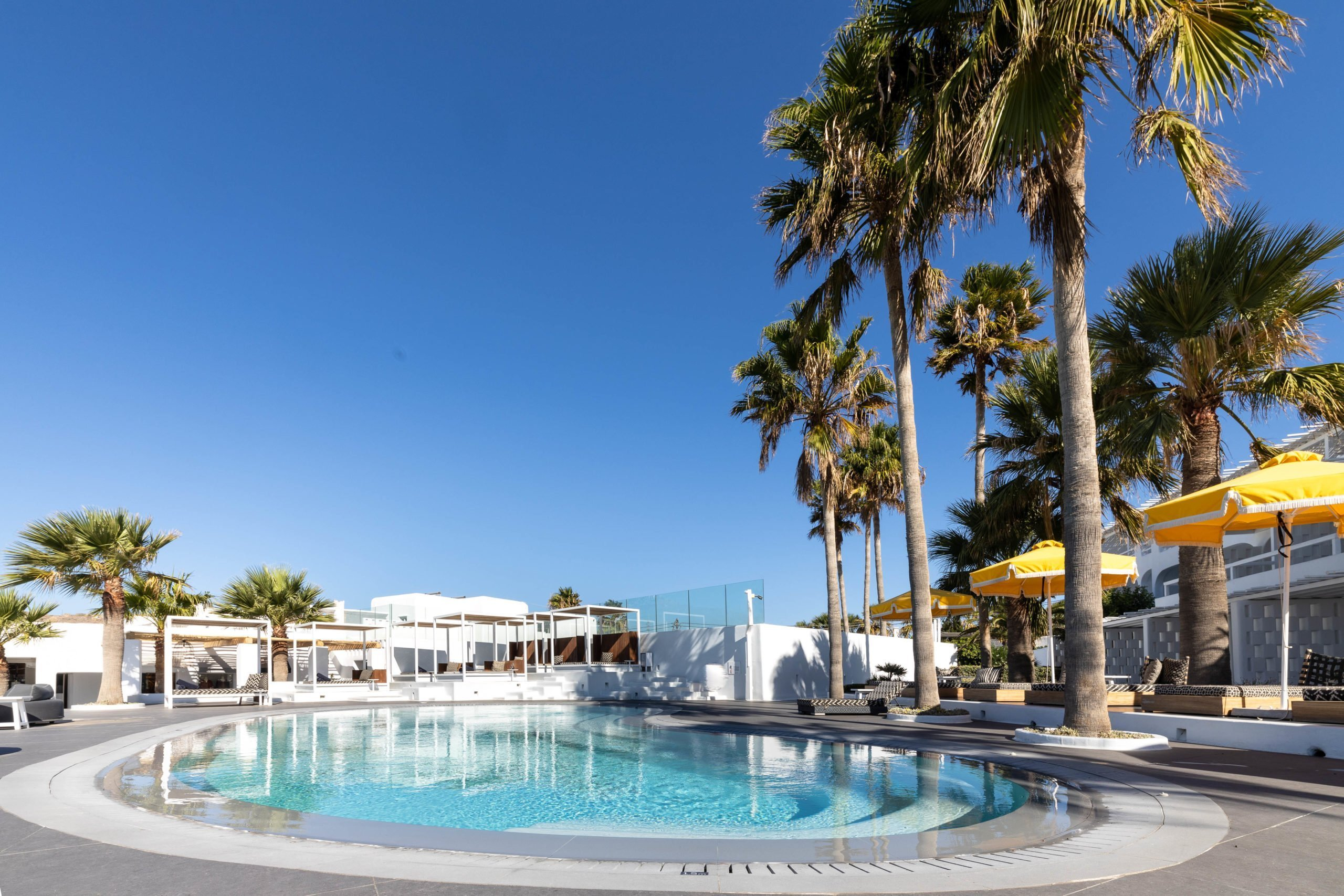 Crystal clear pool and tall palm trees at the garden of Mykonos Blanc Hotel.